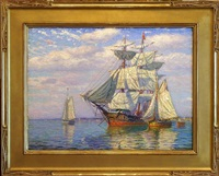 calm day on long island sound [sold] by james gale tyler